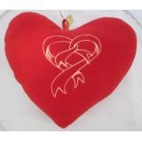 01103.6 Червено плюшено сърце с бродерия 25 см