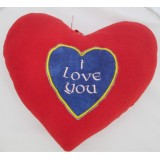 01103.7 Червено плюшено сърце с бродерия 25 см
