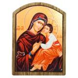 03171.3 Дървена икона на Дева Мария с младенеца 8 см