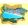 02070 Дървен магнит карта на България с изглед от Обзор 8 см