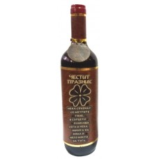 03191.9 Декорирана бутилка вино 750 мл Честит празник с детелина