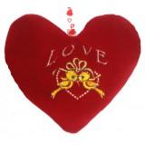 01101.3 Червено плюшено сърце с бродерия 14 см