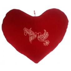 01105.1 Червено плюшено сърце с бродерия 45 см
