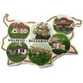 02043.2 Магнит във форма на карта на България с изгледи от Кранево 9 см