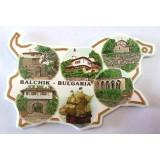02043.3 Магнит във форма на карта на България с изгледи от Балчик 9 см