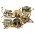 02043.8 Магнит във форма на карта на България с изгледи от Аладжа манастир 9 см