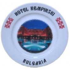 02044.2 Сувенирна керамична чиния с изглед и надпис на хотел Кемпински-Златни пясъци 20 см