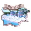 02073 Дървен магнит карта на България с изглед от Балчик 8 см