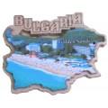 02075 Дървен магнит карта на България с изглед от Златни пясъци 8 см