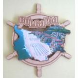 02080 Дървен магнит карта на България с рул и изглед от Обзор 9 см