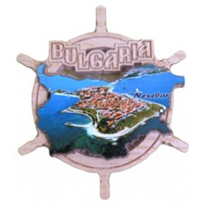 02086  Дървен магнит карта на България с рул и изглед от Несебър 9 см