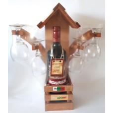 02207 Стойка с вино 750 мл и 4 чаши 35/35 см