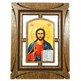 03144.1 Дървена икона с Исус Христос 19 см