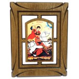 03144.4 Дървена икона със Св. Георги 19 см