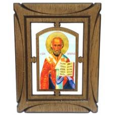 03144.5 Дървена икона със Св. Николай 19 см