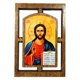 03145.1 Дървена икона с Исус Христос 12  см