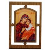 03145.2 Дървена икона с Дева Мария и Исус Христос 12 см