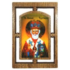03145.4 Дървена икона със св.  Николай Чудотворец 12 см