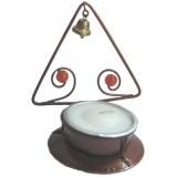 05019.1 Метален свещник с камъчета и звънче 8 см