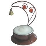 05019.2 Метален свещник с камъчета и звънче 8 см