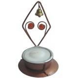 05019.3 Метален свещник ромб с камъчета и звънче 8 см
