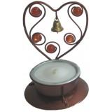 05019.4 Метален свещник сърце с камъчета и звънче 8 см