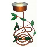 05020.1 Метален свещник в медено и зелено 10 см