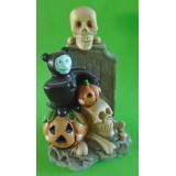 05040.2 Гроб със скелет, дявол и тиква  подходящи за Хелоуин 15 см