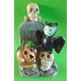 05040.1 Гроб със скелет, дявол и тиква  подходящи за Хелоуин 15 см