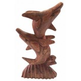 07023.1 Дървена статуетка с делфини 20 см
