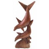 07024.1 Дървена статуетка с делфини 30 см