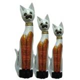 07141 Комплект дървени котки в бяло, черно и златисто 60, 80, 100 см