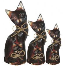 07190 Комплект дървени котки 25, 30, 35 см