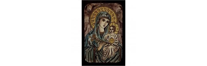 084.10 Ръчно рисувана Икона с Пресвета Богородица 12/16 см