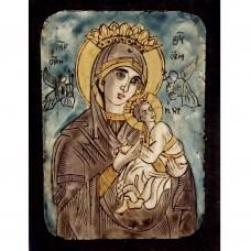 084.11 Ръчно рисувана Икона с Пресвета Богородица 12/16 см