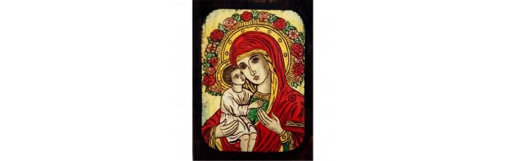 084.12 Ръчно рисувана Икона с Пресвета Богородица 12/16 см
