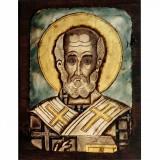 084.16 Ръчно рисувана Икона Св. Николай Чудотворец 12/16 см