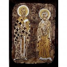 084.3 Ръчно рисувана Икона със Св. Киприан и Юстина 12/16 см