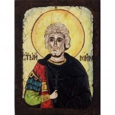 084.5 Ръчно рисувана Икона със Св. Мина 12/16 см