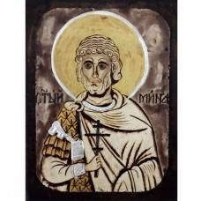 084.6 Ръчно рисувана Икона със Св. Мина 12/16 см