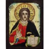 084.7 Ръчно рисувана Икона с Иисус Христос 12/16 см