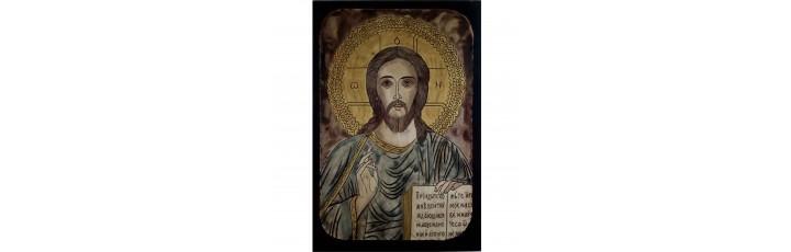 084.8 Ръчно рисувана Икона с Иисус Христос 12/16 см