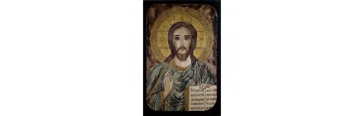 087.1 Ръчно рисувана Икона с Иисус Христос 19/28 см