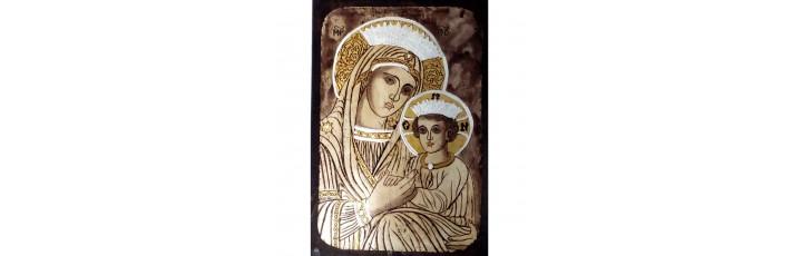 087.5 Ръчно рисувана Икона с Пресвета Богородица 19/28 см
