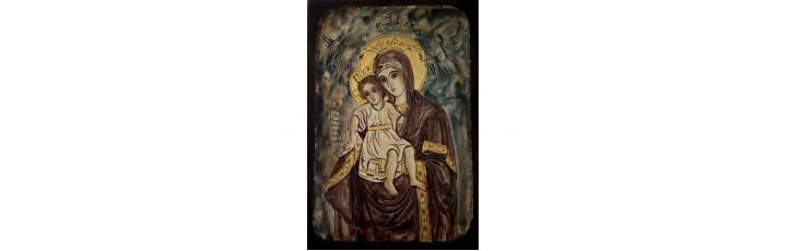 087.6 Ръчно рисувана Икона с Пресвета Богородица 19/28 см
