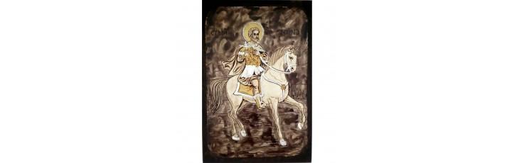 087.9 Ръчно рисувана Икона със Св. Мина 19/28 см