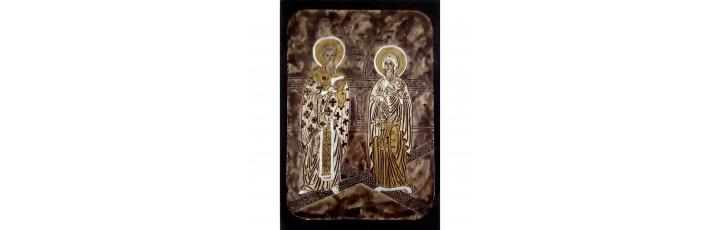 089.1 Ръчно рисувана Икона със Св. Киприан и Юстина 21/31 см