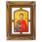 03144.2 Дървена икона със Св. Мина  19  см