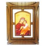 03144.6 Дървена икона с Исус Христос и Дева Мария 19 см