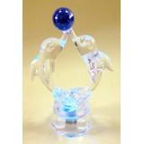 15030 Делфини стъклени светещи 11см